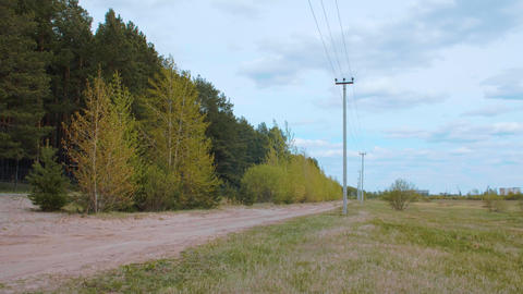 Rural landscape with country road, transmission line, field and green forest ビデオ