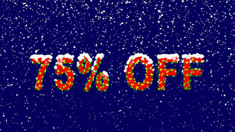New Year text sale label 75% OFF. Snow falls. Christmas mood, looped video. Animation