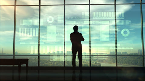Silhouette of a trader in the office before infographics Animation