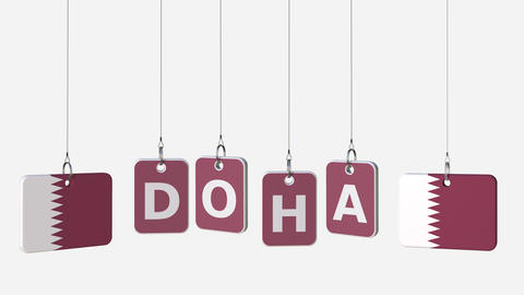 Flags of QATAR and Doha text on hanging plates. Alpha matte for simple Live Action