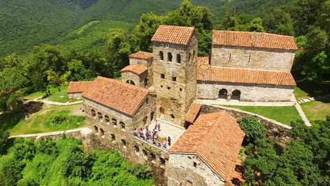 Exterior of famous ancient Nekresi monastery in Alazani valley, summer tourism Live Action