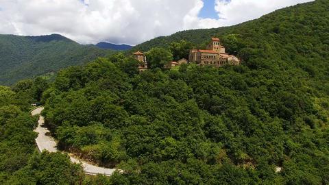 Tourism in Kakheti town, aerial shot of famous Nekresi monastery, tourism Live Action