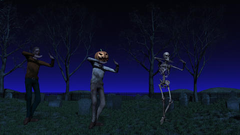 Halloween Cemetery Dance Animation GIF