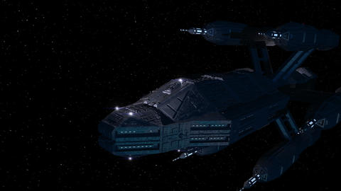 Large Space Ship Flyby 3d-Animation GIF