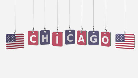 Flags of USA and Chicago text on hanging plates. Alpha matte for simple Live Action
