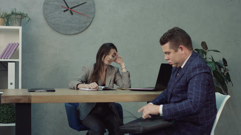 Nervous job applicant at job interview in hr office Live Action
