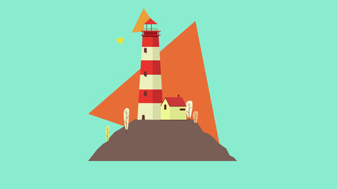Colorful vector Lighthouse loop animation After Effects Template