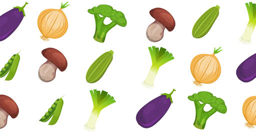 Motion Graphic With Vegetables Loopable Background Animation