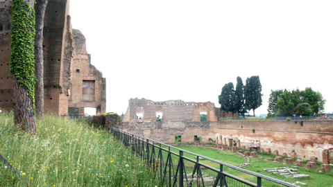 tracking shot on ruins at the Aventine, in the center of Rome Footage