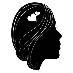 Silhouette of a girls head with classic long hair. Hairstyle decorated with ベクター