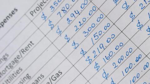 Household Budget Worksheet Footage