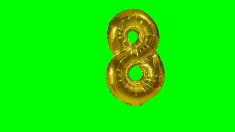 Number 8 eight years birthday anniversary gold balloon floating on green screen Live Action