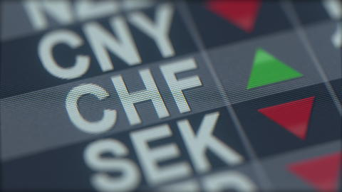 Increasing Swiss franc exchange rate indicator on computer screen. CHF forex Photo