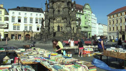 OLOMOUC, CZECH REPUBLIC, APRIL 30, 2018: Sale of books on the square marketplace ビデオ