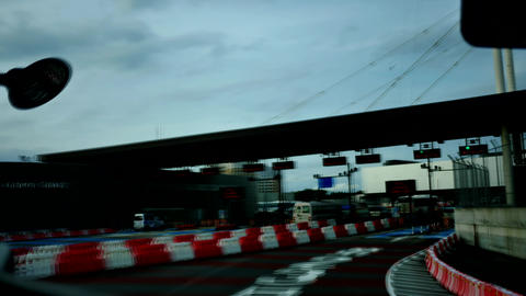 Shot from inside the tour bus along the street & high way of Japan Live Action