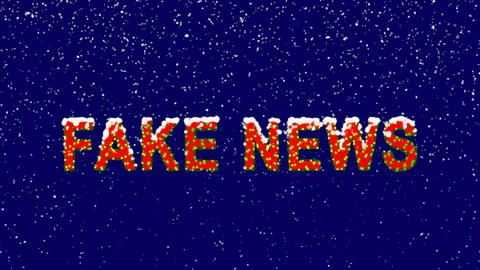 New Year text common expression FAKE NEWS. Snow falls.... Stock Video Footage