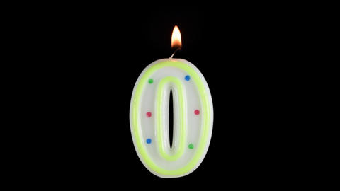 Candle number 0 burning - birthday! Transparent background Footage
