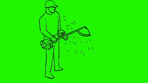 Gardener With Line Trimmer Drawing 2D Animation Animation