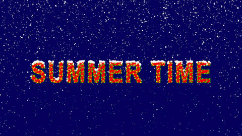 New Year text common expression SUMMER TIME. Snow falls. Christmas mood, looped Animation