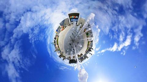 rabbit hole planet fountain sprays high jets near mall GIF