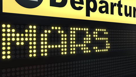 MARS word appearing on airport departure board. Space travel related conceptual Live Action