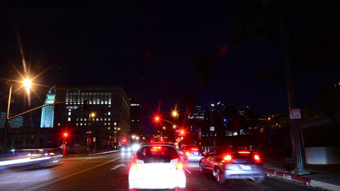 Driving Hyperlapse 34 POV Los Angeles Night Cityscape 2014 Footage