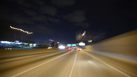 Driving POV Timelapse 04 LA Downtown Freeway Night Footage
