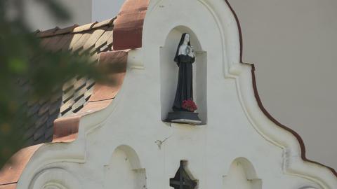Nun Statue O Church Building Footage