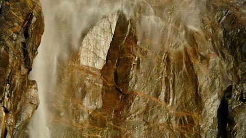 Yosemite Bridalveil Fall 96fps 04 Tilt Up Slow Motion Waterfalls Footage