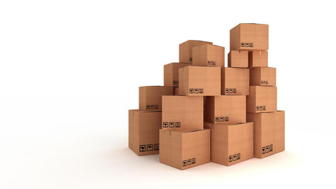 Stack Of Carton Boxes stock footage