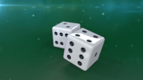 Two white dices in motion agaunst a green background Animation