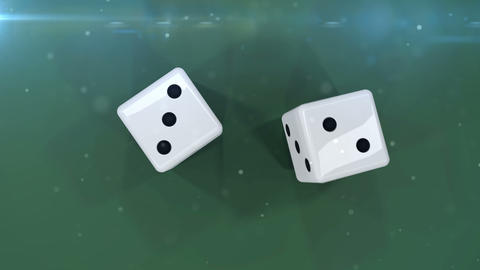 Pair of dice is rolling in slow motion against a green background Animation