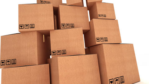 Pile of cardboard boxes Animation