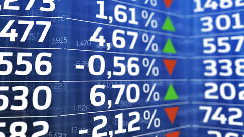 Table of stock exchange market indices animation Animation