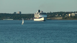 Halifax Nova Scotia New Scotland Canada 007 Celebrity Cruise Ship Comes Closer stock footage