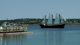 Halifax Nova Scotia New Scotland Canada 025 old sailing ship passes the pier Footage