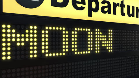 MOON word appearing on airport departure board. Space travel related conceptual Live Action