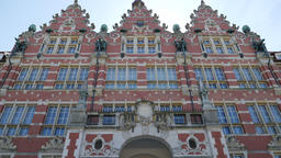 Main building of the University of Technology in Gdansk, Poland Live Action