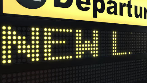 NEW LIFE words appearing on airport departure board Live Action