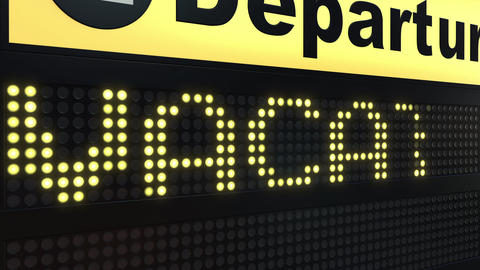 VACATION word appearing on airport departure board Live Action