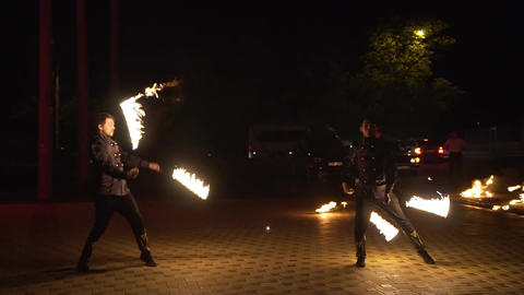 Krasnodar, Russia - June 2, 2018: fireshow with fireworks Live Action