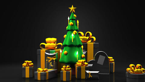 Christmas tree and gift boxes CG動画