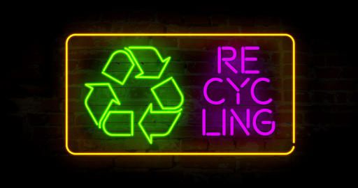 Recycling neon 4K Animation