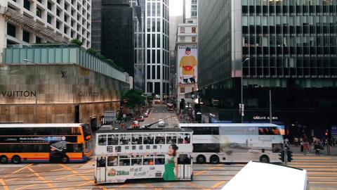 Hong kong street crossroad Footage