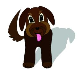 Cute brown dog crossbreed waiting with torn tongue, cartoon illustration with ベクター