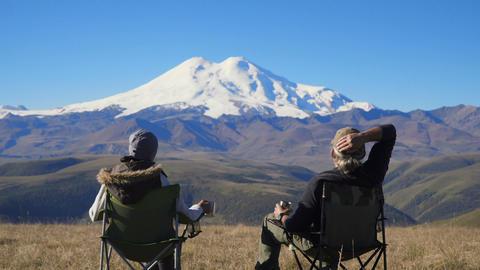 Couple admiring mountains Footage