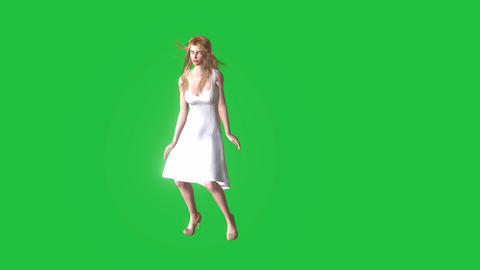 Beautiful Animated Woman, Dancing in Green Screen:... Stock Video Footage
