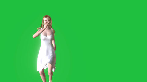 Beautiful Animated Woman, Dancing in Green Screen: Looping + Matte Animation