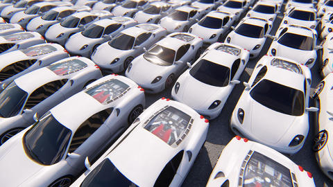 The camera flies over the rows of white sports cars in sunny weather. Realistic Animation