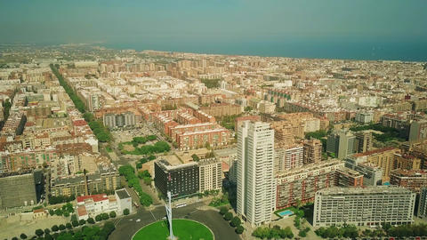 Aerial view of Valencia cityscape as seen from Plaza de Europa, Spain Live Action